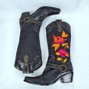 J.Renee Cowgirl Boots Dakota Studded Buckle Detail